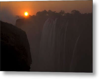 Sunset Over Cascading Victoria Falls Metal Print by Ralph Lee Hopkins