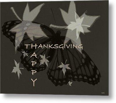 Thankful Holiday Card Metal Print by Debra     Vatalaro