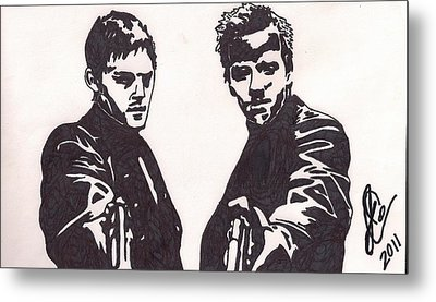 Metal Print featuring the drawing The Boondock Saints by Jeremiah Colley
