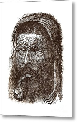 The Patriarch Pen And Ink Drawing  Metal Print by Mario Perez