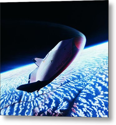 The Space Shuttle Re-entering The Earth's Atmosphere Metal Print by Stockbyte