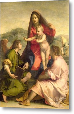 The Virgin And Child With A Saint And An Angel Metal Print by Andrea del Sarto