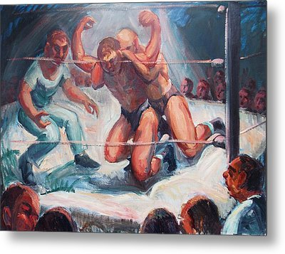 The Wrestling Match In Color Metal Print by Bill Joseph  Markowski