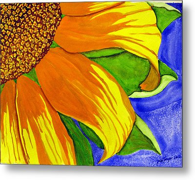 Metal Print featuring the painting This Is No Subdued Sunflower by Debi Singer