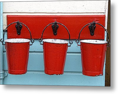 Three Red Buckets Metal Print