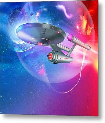Time Travelling Spacecraft, Artwork Metal Print by Detlev Van Ravenswaay