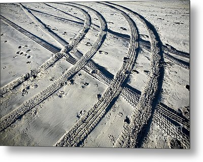 Tire Tracks And Footprints, Long Beach Peninsula, Washington Metal Print by Paul Edmondson