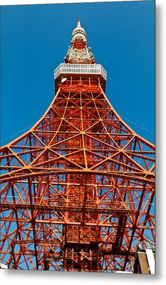 Tokyo Tower Faces Blue Sky Metal Print by U Schade