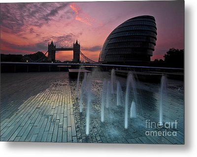 Tower Bridge Sunrise Metal Print by Donald Davis