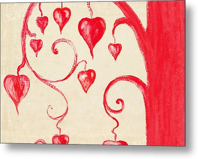 Tree Of Heart Painting On Paper Metal Print