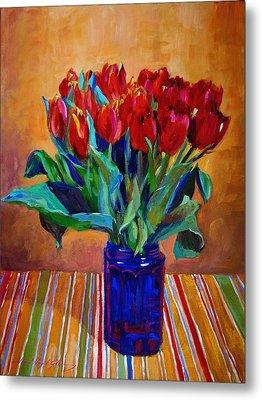 Tulips In Blue Glass Metal Print by David Lloyd Glover