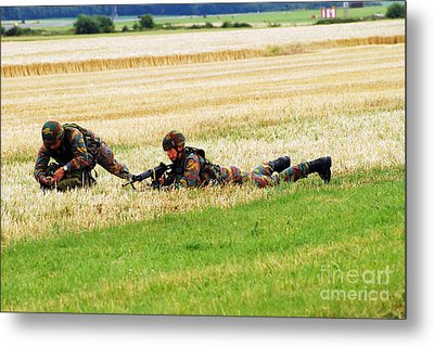 Two Soldiers Of The Belgian Army Metal Print by Luc De Jaeger