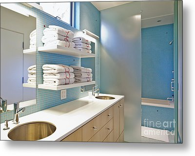 Upscale Bathroom Interior Metal Print by Inti St. Clair