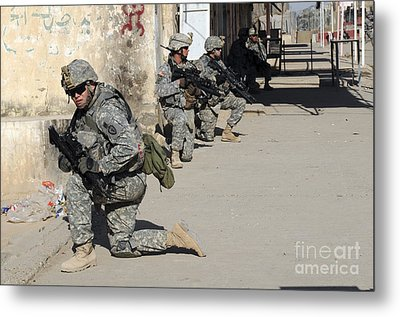 U.s. Army Soldiers Providing Security Metal Print by Stocktrek Images