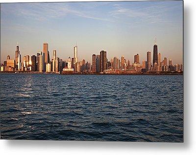 Usa, Illinois, Chicago, City Skyline Over Lake Michigan Metal Print by Henryk Sadura