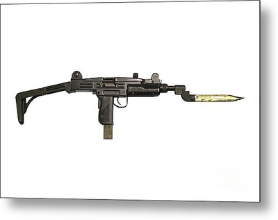 Uzi 9mm Submachine Gun With Attached Metal Print by Andrew Chittock