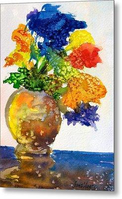 Vase With Flowers Metal Print