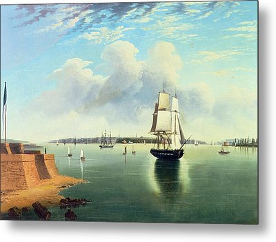 View Of New York From Bedloes Island Metal Print by Joseph B Pringle