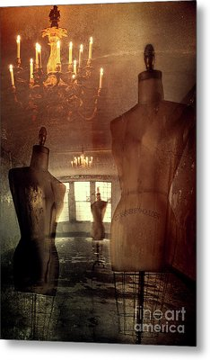 Vintage Dressforms With Abstract Grunge Background Metal Print by Sandra Cunningham