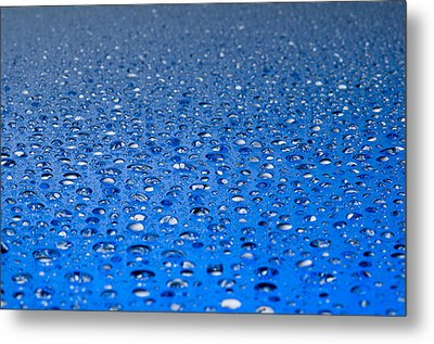 Water Drops On A Shiny Surface Metal Print by Ulrich Schade