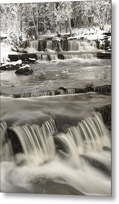 Waterfalls With Fresh Snow Thunder Bay Metal Print by Susan Dykstra