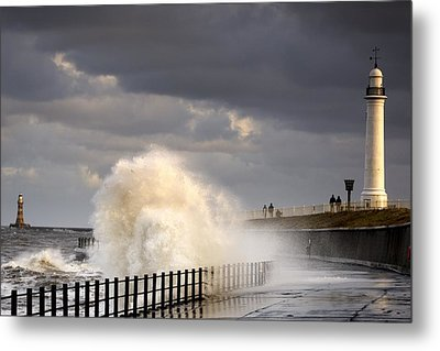 Waves Crashing, Sunderland, Tyne And Metal Print by John Short