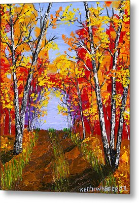 White Birch Tree Abstract Painting In Autumn Metal Print by Keith Webber Jr