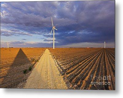 Wind Turbine Shadow Metal Print by Jeremy Woodhouse