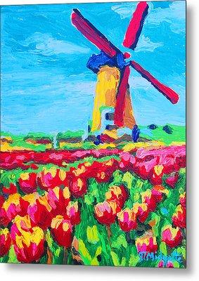 Windmill And Tulips Metal Print