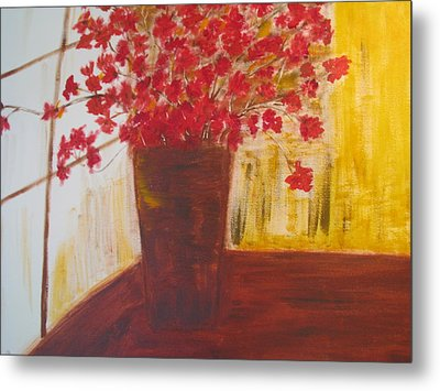 Window Flowers Metal Print by Brindha Naveen