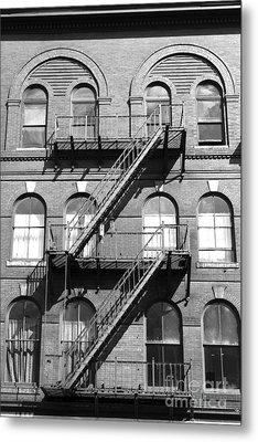 Windows And Fire Escapes Bangor Maine Architecture Metal Print by John Van Decker