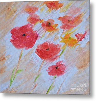 Windy Poppies No. 2 Metal Print by Barbara Tibbets