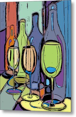 Wine Bottles And Glasses IIi Metal Print by Peggy Wilson