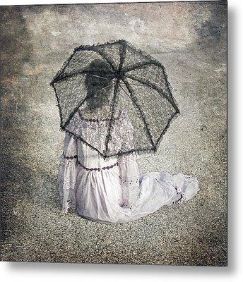 Woman On Street Metal Print by Joana Kruse