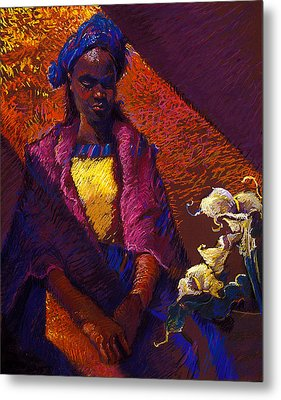 Woman With Calla Lilies Metal Print by Ellen Dreibelbis