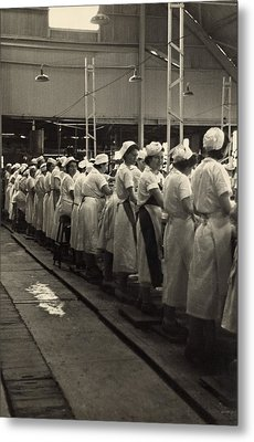 Women Working In A Grapefruit Canning Metal Print by Everett