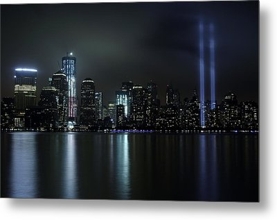 Metal Print featuring the photograph World Trade Center Memorial Lights by Michael Dorn