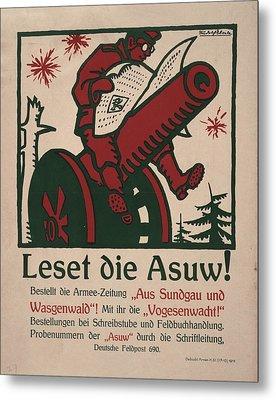 World War I, German Poster Shows Metal Print by Everett