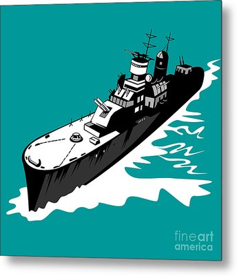World War Two Battleship Warship Cruiser Retro Metal Print by Aloysius Patrimonio