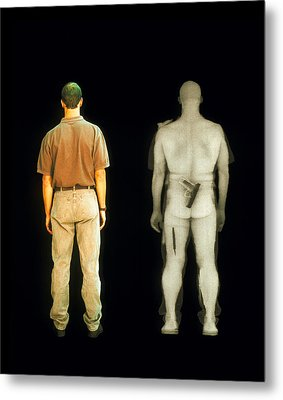 X-ray View Of Man During Bodysearch Surveillance Metal Print by American Science & Engineering
