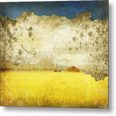Yellow Field On Old Grunge Paper Metal Print by Setsiri Silapasuwanchai