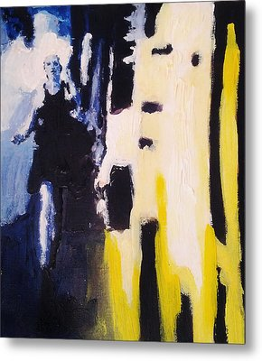 Young Running Female Cityscape In Blue And Yellow Metal Print by M Zimmerman