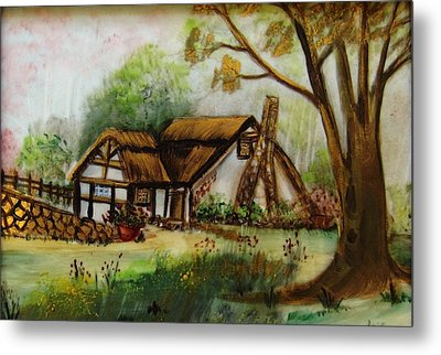 1128b Cottage Painted On Top Of Gold Metal Print by Wilma Manhardt