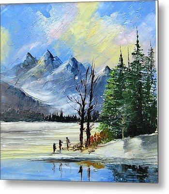 1130b Mountain Lake Scene Metal Print by Wilma Manhardt