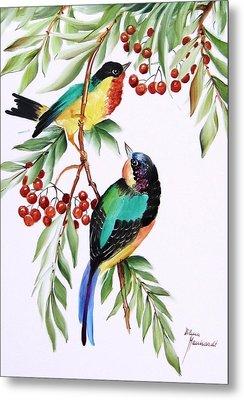 1152 Little Birds And Berries Metal Print by Wilma Manhardt