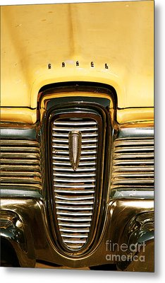Rusted Antique Ford Car Brand Ornament Metal Print by ELITE IMAGE photography By Chad McDermott