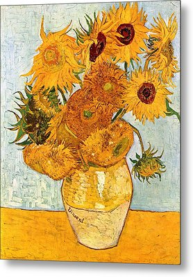 12 Sunflowers In A Vase Metal Print by Sumit Mehndiratta
