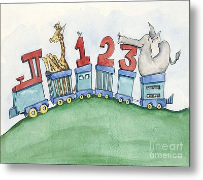 123 Animal Train Metal Print by Annie Laurie
