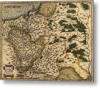 1570 Map Of  Poland. Polands Political Metal Print by Everett