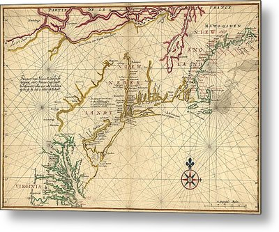 1639 Maps Of British Colonies In North Metal Print by Everett